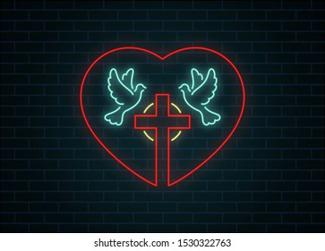 Color illustration of a neon doves cross with a halo and a heart. Vector illustration on a religious theme