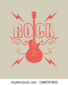 Color illustration on the theme of rock music. Guitar flame and text