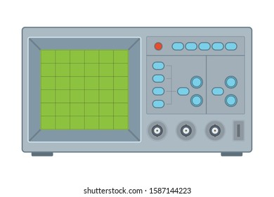 color illustration of an oscilloscope in a flat style