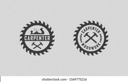 Color illustration set of carpenter logos on a background with texture. Vector illustration of a planer, circular saw, crossed hammers and chain with text. Professional carpenter services.