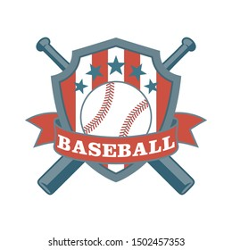 Color illustration of a shield, baseball bat, banner with text and ball. Vector illustration on a sports theme. Baseball club emblem