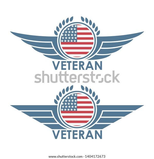 Color Illustration Wings Laurel Leaves American Stock Vector