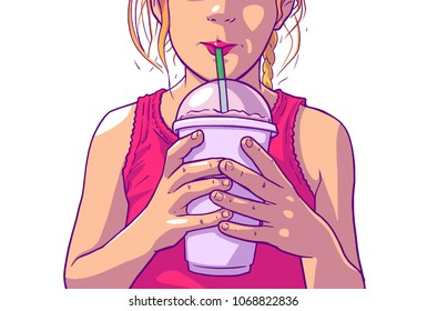 Color illustration of young girl with blonde hair and pink dress drinking juice, soft drink from plastic cup with straw