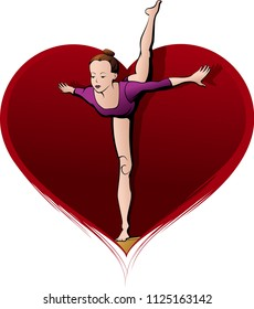 Color illustration of a young girl gymnast performing a move on the balance beam with a red heart for a background.