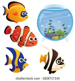 Color image of aquarium fishes on white background. Clownfish, guppy, angelfish. Pets. Vector illustration for kids.