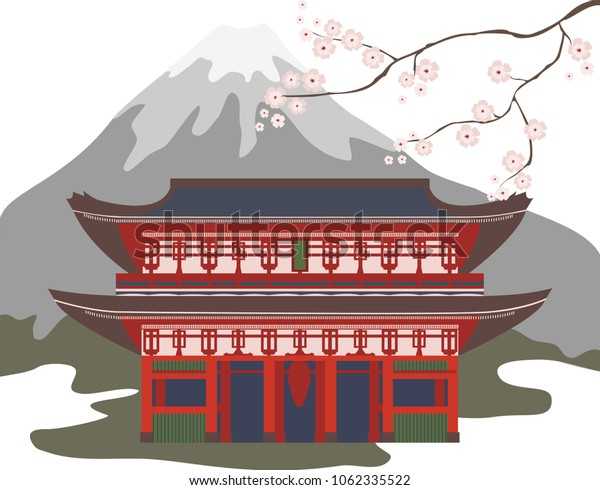 Color image of the building of eastern architecture with a blossoming cherry branch.