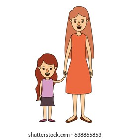 color image caricature full body mother in dress taken hand with girl vector illustration
