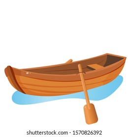 Color image of cartoon boat with paddles on white background. Hobby and fishery. Vector illustration.