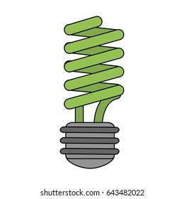 color image cartoon fluorescent light bulb