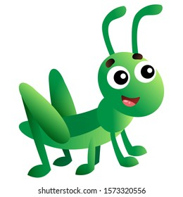 Color image of cartoon grasshopper on white background. Vector illustration for kids.