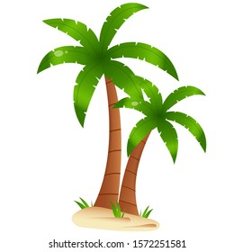 Color image of cartoon palm tree on white background. Plants. Vector illustration for kids.