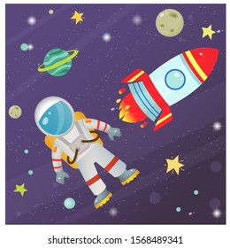 Color image of cartoon rocket with astronaut in space. Vector illustration for kids.