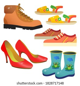 Color image of cartoon shoes. Sports sneakers, children's boots, women's pair of shoes, sandals. Clothing. Vector illustration set for kids.