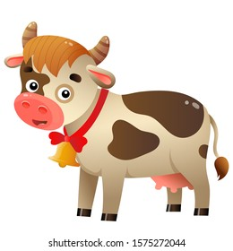 Color image of cartoon spotted cow with bell on white background. Farm animals. Vector illustration for kids.
