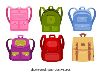 Color image of a collection of backpacks on a white background. School backpacks are objects isolated. Vector illustration of a set of children's bags