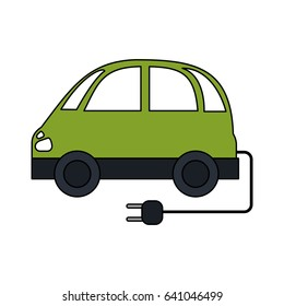 color image electric car icon with connector