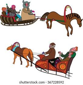 color image festive sleigh, carnival