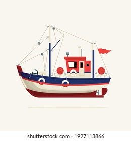 Color image of a fishing vessel, trawler or ship tug on a light background. Decorative vector illustration of a fishing boat side view. Sea or river transport for catching fish in a cartoon style