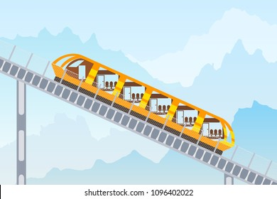 Color image of the funicular railway on a mountain background. Vector illustration of a mountain funicular
