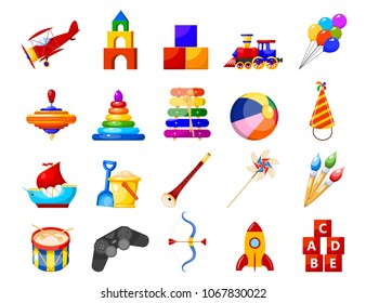 Color image group of icons of children's toys on a white background. Set of Isolated objects. Vector illustration