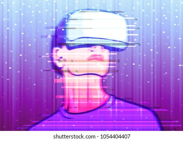 Color image of interference on a colored background of a person in virtual reality glasses. The concept VR of high technology and digital entertainment.Glitch art