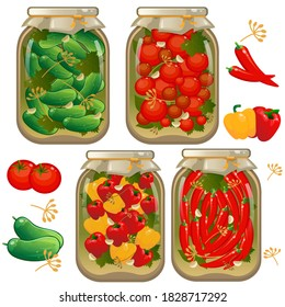 Color image of jars of marinated vegetables. Pickles. Cans of pickled tomatoes, cucumbers and peppers. Food and cooking. Vector illustration set.