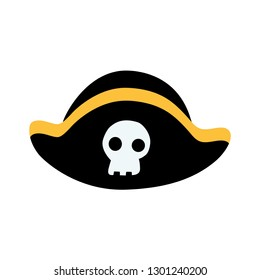 Color image of a pirate hat with a skull. Vector illustration for design, print on t-shirt, bag, notebook, card.