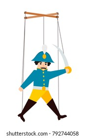 Color image of a puppet doll on a white background. Puppet soldier with ropes. Vector illustration