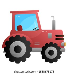 Color image of red tractor on a white background. Vector illustration of transport for kids.