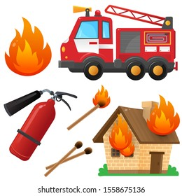 Color images set of fire truck, extinguisher, burning house and flame on a white background. Profession: fireman. Vector illustration for kids.