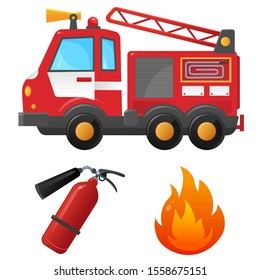 Color images set of fire truck, extinguisher and flame on a white background. Profession: fireman. Vector illustration of transport for kids.