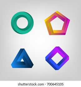Color Impossible Shapes Set. Creative Figure Business Company Fogo. Vector illustration