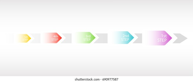 Color infografic arrows point to the map. A template for business graphics with steps. Graps elements, easy design, diagram with 5 steps, parts or processes. Vector illustration. EPS 10.