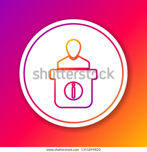 Color Information Desk Line Icon Isolated Stock Vector Royalty Free