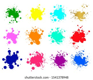 Color ink splashes. Grunge splatters. Abstract background. Grunge text banners