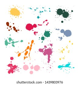 Color ink spot set. Splash and drop colours, colored stain paints blotting stain vector colorful abstract texture splatter collection