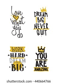 Color inspirational vector illustration set, motivational quotes typographic poster. Thin marker hand drawn line icon for web, mobile, elements, logos, labels, badge, card, t-shirts