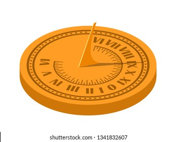 Color isometric vector image of a sundial on a white background. Sundial in Flete Cartoon style. Stock isometry style vector illustration