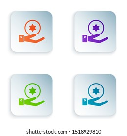 Color Jewish coin on hand icon isolated on white background. Currency symbol. Set icons in colorful square buttons. Vector Illustration