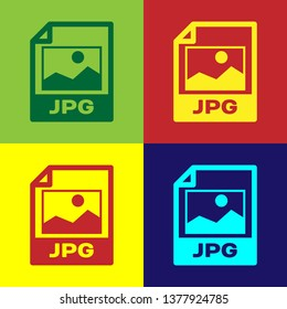Color JPG file document icon. Download image button icon isolated on color backgrounds. JPG file symbol. Vector Illustration