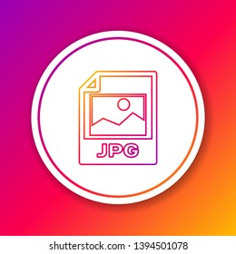 Color JPG file document icon. Download image button line icon isolated on color background. JPG file symbol. Circle white button. Vector Illustration
