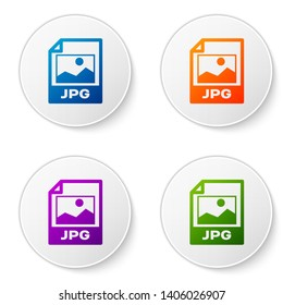 Color JPG file document icon. Download image button icon isolated on white background. JPG file symbol. Set icons in circle buttons. Vector Illustration