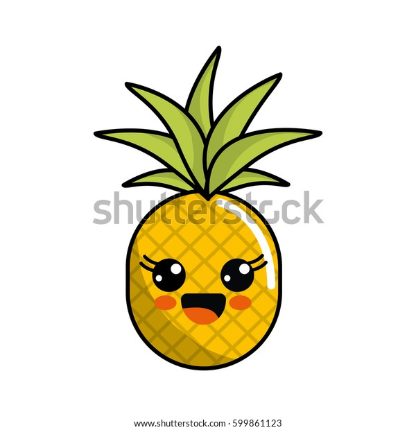 Color Kawaii Happy Pineapple Icon Stock Vector Royalty Free