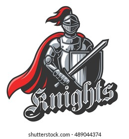 Color knight sport logo on white background. Perfect for sport team mascot.