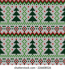 color knitted Christmas seamless pattern. 10 eps