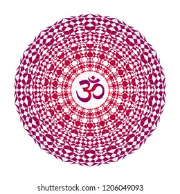 Color, lace, openwork, colorful mandala with the sign Aum / Ohm / Om. In purple and red tones. Vector drawing.