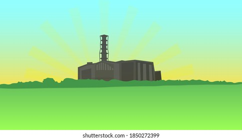 Color landscape with a dark silhouette of the Chernobyl nuclear power plant in the distance. The concept of the Chernobyl radiation disaster. Vector illustration