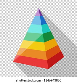 Color layered pyramid in flat style with long shadow on transparent background