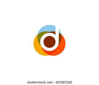 Color letter d logo icon vector design.