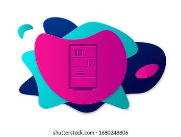 Color Library bookshelf icon isolated on white background. Abstract banner with liquid shapes. Vector Illustration